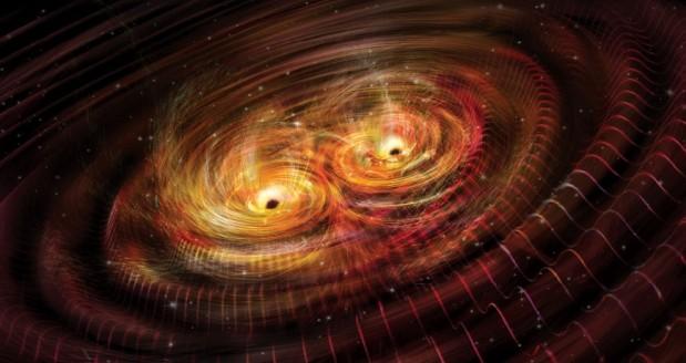 두 블랙홀이 합쳐지며 방출된 중력파를 시각화한 그래픽. - 사이언스 제공